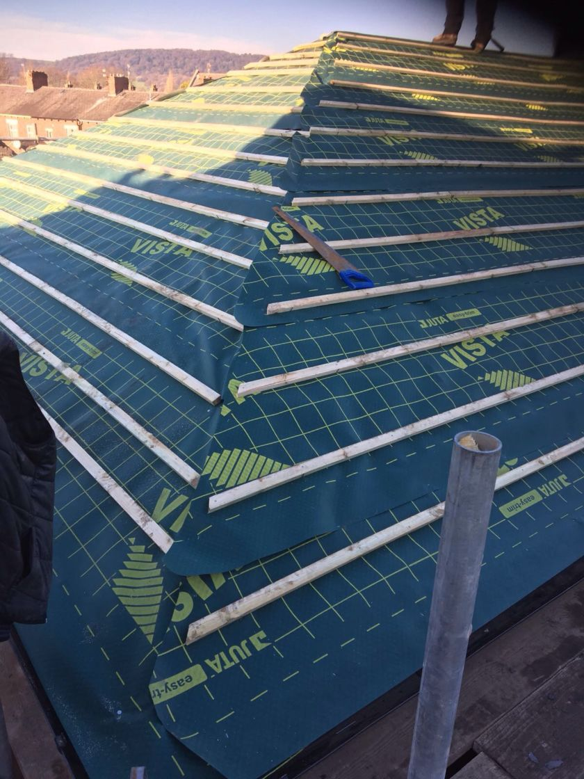 Membrane and battens in Place
