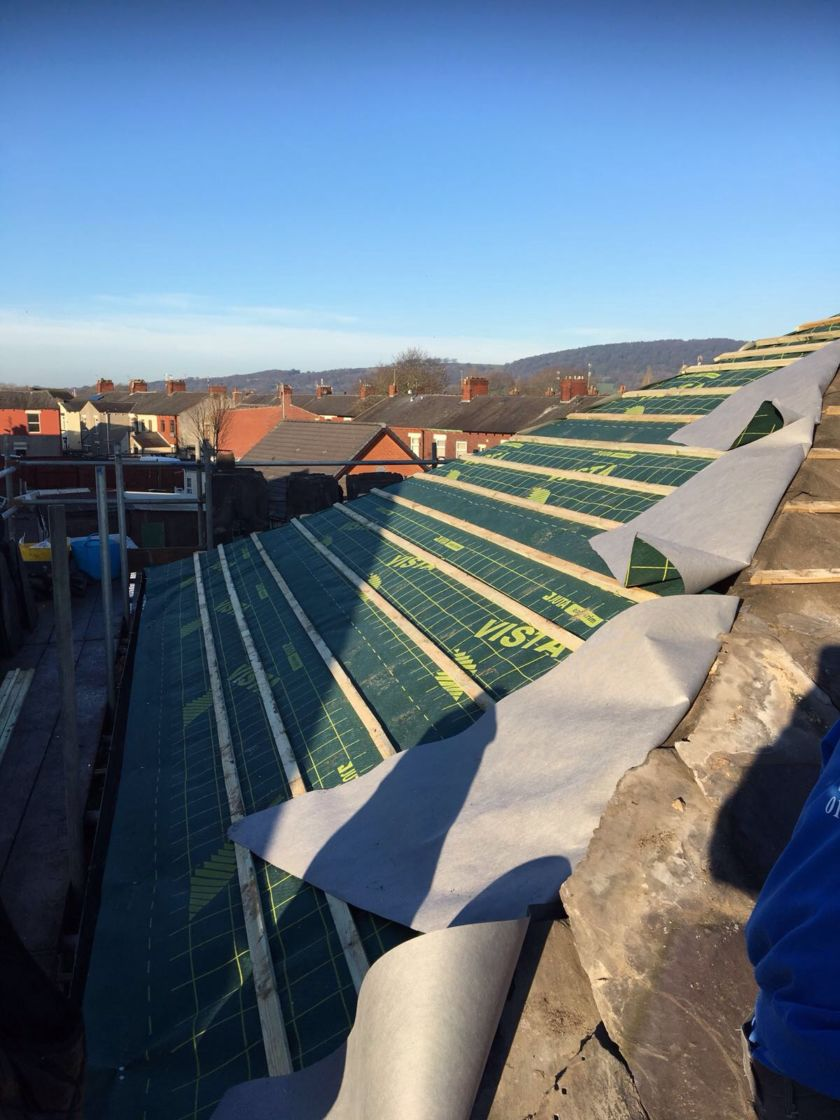 Breathable roof membrane and battens in place